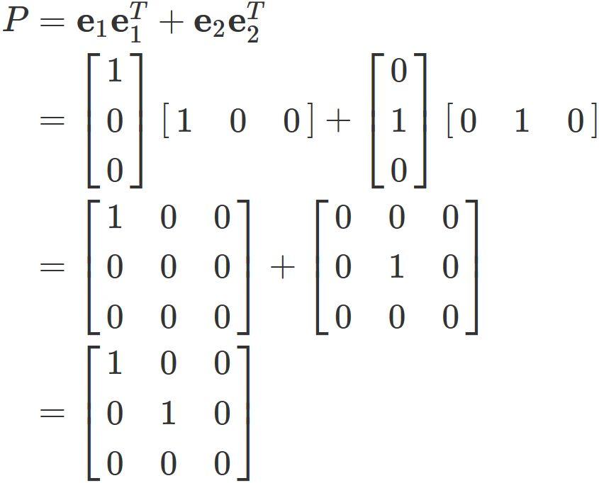 射影行列の正規直交基底による表...